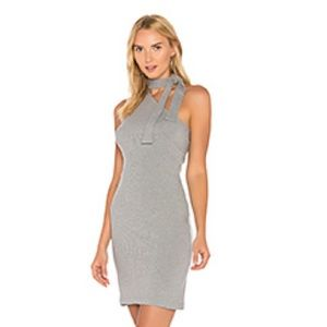 Grey Tie Neck Dress